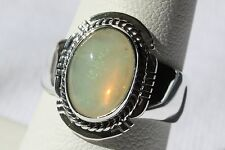 Signed Navajo Made Sterling Silver Ethiopian Rainbow Opal Ring 2.05 ct. - Size 8