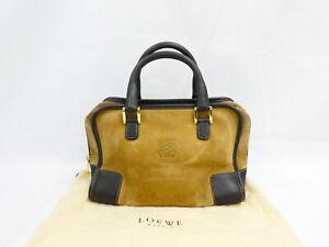 Auth LOEWE Amazona Handbag Brown/Beige/Gold Suede/Leather/Goldtone - AUC0251
