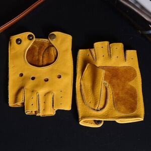 Men's Real Leather Cowhide Unlined Athletic Fingerless Half Finger Short Gloves