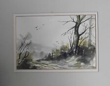LANDSCAPE ORIGINAL WATERCOLOUR PAINTING COUNTRY LANE COLOURIST ENGLISH