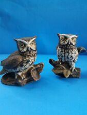 Vintage Set of Two (2) Homco Owls #1114 Home Interior 1970s Original Owner
