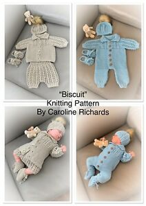 """""""Biscuit"""" Multi Piece Knitting pattern for Reborn doll 16 -22"""" or 0-3 Month Baby"""