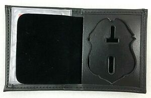 Police Badge Wallet Bifold Black Leather Recessed ID Perfect Fit 110 Cutout 123