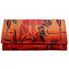 Handmade India SHANTINIKETAN Leather Womens Wallet Clutch Bag Elephant Purse
