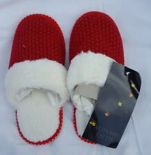 WOMENS Autumn Faith Size 3 UK RED WOOL KNIT FUR LINED MULE Slippers BRAND NEW