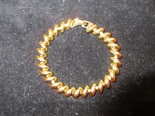 Shiny Yellow Gold Tone Vintage Antique Bracelet Link Estate Jewelry Elegant CHIC