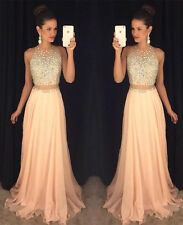 Crystal Long Bridesmaid Formal Ball Gown Party Cocktail Wedding Evening Dresses