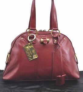 Authentic YVES SAINT LAURENT Enamel Hand Bag Red C8319
