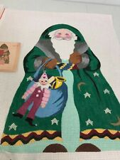 Hand painted needlepoint canvas Christmas 2 sided Santa with tree & toys