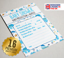 Baby Shower Prediction & Advice Game 16 A6 Party Cards - Blue Watercolour Design