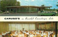 Automobiles Caruso Restaurant interior Canandaigua New York Postcard 12913