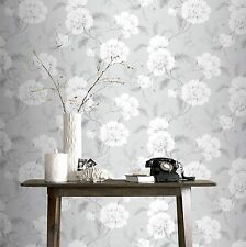 New Rasch Boutique Floral Wallpaper Grey & White 226188