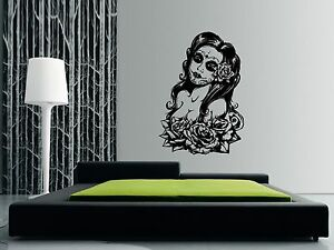 DAY OF THE DEAD SEXY WOMAN Wall Art Sticker, Decal, Mural 88 x 58cm (3ft x 2ft)