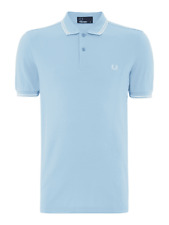 FRED PERRY MENS M3600 TWIN TIPPED POLO SHIRT. BNWT. COLOUR. SKY BLUE. SIZE. S