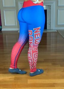 $70 NWT NHL New York Rangers Women Team Print Fitted Full Leggings Women's XS