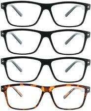 4 Pair Pack Reading Glasses Readers Men Women Square Classic Frame