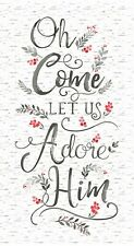 White Oh Come Let Us Adore Him Jesus Religious Christmas Fabric Panel 24