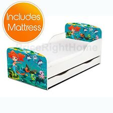 MERMAID TODDLER BED WITH STORAGE + FULLY SPRUNG MATTRESS GIRLS JUNIOR KIDS