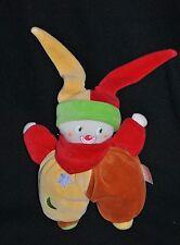 Peluche Doudou Clown COROLLE 2004 Jaune Rouille Rouge Vert Hochet 20 cm TTBE