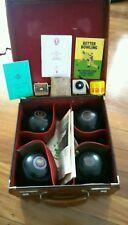 Vintage Henselite lawn ball bocce set carry case 2 x Alpha ball measure