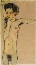 Egon Schiele Reproductions: Nude Self Portrait - Fine Art Print