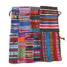 8 Stoff Säckchen 17x12cm Schmuck Beutel Bunte Geschenkbeutel Farb & Muster-MIX