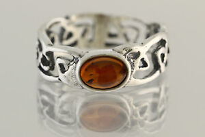 Glittering Cognac Color Genuine BALTIC AMBER Unisex Silver Ring 6.5 180703-29
