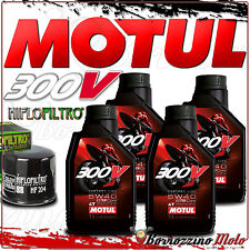 TAGLIANDO OLIO 4 L MOTUL 300 V 5W40 + FILTRO HIFLO TRIUMPH 675 Daytona R 2014