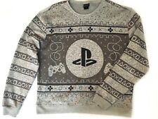 Men's PlayStation Sweatshirt Sz Xxl Gray Fleece Lined Nordic Xmas Pullover Euc