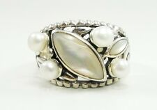 Sterling Silver White MOP Mother of Pearl Faux Pearl Ring Leaves Wide Size 8.75