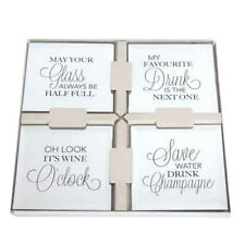 SET OF 4 MIRRORED COASTER COFFEE TABLE MUG COASTERS KITCHEN MIRROR QUOTE FUNNY