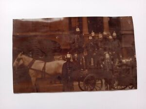 VINTAGE REAL PHOTO POSTCARD, BOURNE LINCOLNSHIRE FIRE ENGINE OUTSIDE TOWN HALL