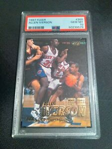 1997 Fleer #300 ALLEN IVERSON PSA 10 Gem Mint Philadelphia 76ers ROY NEW CASE