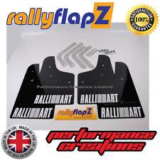 rallyflapZ MITSUBISHI EVO 4 (96-98)  Mud Flaps Black Ralliart Logo White 4mm PVC