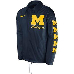 Nike Men's Michigan Football Coaches Performance Full Snap Jacket Large L