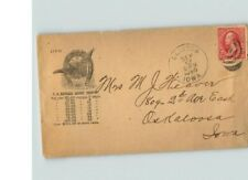 1895 Clinton, Iowa cancel, U.S. Express Money Orders Advertising cover, 2ct red