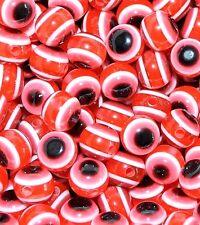 100pcs Rojo Transparente mal de ojo redondo resina granos 8 Mm
