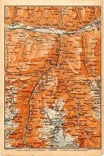 Carta geografica antica Old Map SVIZZERA Ghiacciaio montagne Stalden Saas 1905