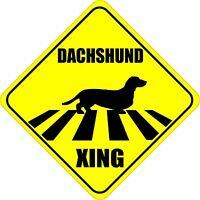 """DACHSHUND XING CROSSING ROAD SIGN 5"""" DOG SILHOUETTE STICKER"""
