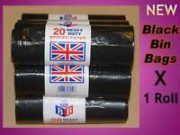 New Heavy Duty Black Bin Rubbish Waste Garbage Refuse Liners Bags Sacks x 20