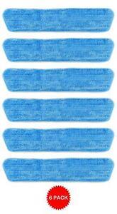 6 Blue Microfiber Dust Mop Pads Refill Fits Starfiber, Libman, Scoth-Brite