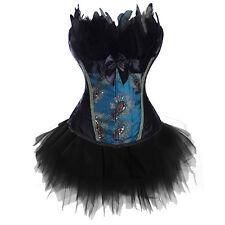 Fancy Gothic Corset Outfit Dress Set Burlesque Party Bustier Lingerie Plus Size