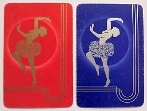 Pair of Vintage Swap/Playing Cards - ART DECO LADY DANCERS