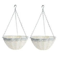 2 x White Rattan Hanging Basket Plant Flowers Display Pot Balcony Stand Planter