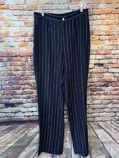 Lauren Ralph Lauren Womens Zipper Fly Dress Pants Blue Striped Silk Striped 12