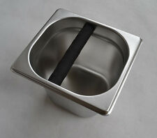 Stainless Coffee Machine Espresso Knock Box Flip Bang Recycle w Rubber Bar
