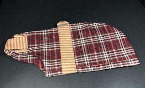 Dog Clothes For Medium Sized Animal Burgundy Check & Stripe Fabric Handmade NEW