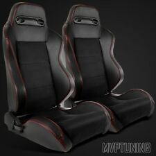 2 x Type-R Style Black PVC Leather/Suede Red Stitch Sport Racing Bucket Seats