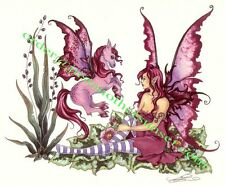 Amy Brown Print Fairy Pink Pegasus Baby Horse Wings Fairy Faery Magenta Fantasy
