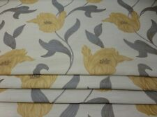 YELLOW FLOWER GREY LEAF ON IVORY FABRIC BLACKOUT LINED BLIND MADE TO MEASURE.